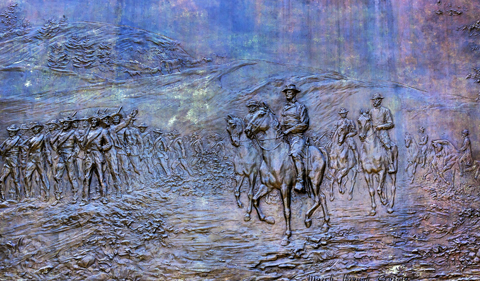 General Sherman Civil War Memorial Bronze Bas Relief Marching Th